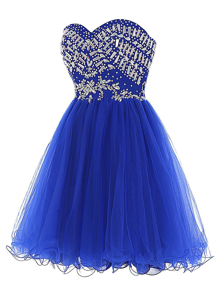 Cheap Blue Sweetheart Cute A-line Tulle Beading Short Mini Homecoming Dresses