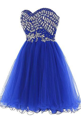 Cheap Blue Sweetheart Cute A-line Tulle Beading Short Mini Homecoming Dresses PM759