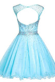 Gorgeous Short Party Dresses,Round Party Dresses,Tulle Party Dresses,Beading Party Dresses PM778