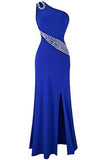 Hollow Out Rhinestones One Shoulder Slit Prom Dresses UK PH213