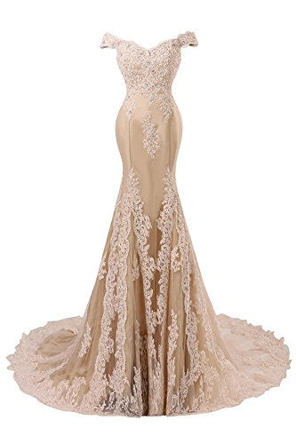 V Neckline Beaded Evening Gowns Mermaid Lace Prom Dresses Long H074
