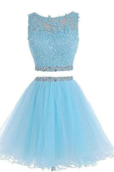 Two Pieces Prom Dresses Applique Short Homecoming Dresses HY115
