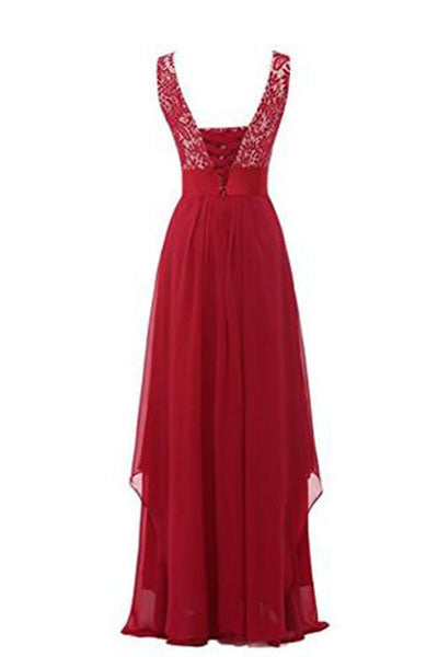Round Neck Chiffon Lace Long Prom Dresses PH209