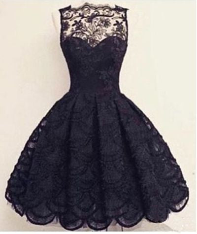 Vintage Scalloped-Edge Sleeveless Lace Black Party Prom Dresses uk with Appliques PM873