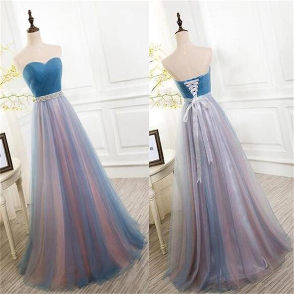 Elegant Tulle Long Vintage Sleeveless Sweetheart Strapless Blue Lace-up Prom Dresses uk PM778