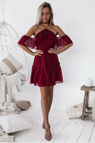 Chic Halter Backless Burgundy Chiffon Off the Shoulder Homecoming Dress with Ruffles PH678
