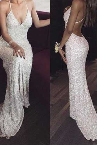 White sequin mermaid long prom dress for teens, sequin evening dress PM393