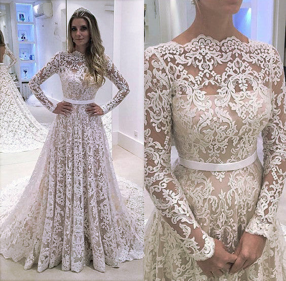 Long Sleeve Lace Fashion Bridal Dress,Sexy Custom Made Evening Dress Prom Dresses uk PM754