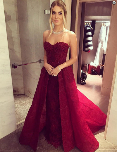 Long Sweetheart A-line Chic Burgundy Prom Dresses with Over skirt Lace Beaded 2017