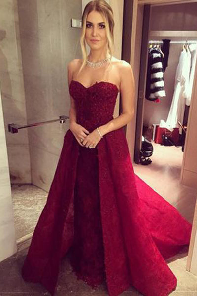 Long Sweetheart A-line Chic Burgundy Prom Dresses with Over skirt Lace Beaded 2017 PH192