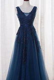 Elegant Tulle Appliques Beaded A-Line Sleeveless Backless Blue V-Neck Prom Dresses uk PM775