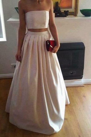 A-Line Gorgeous Two Piece Ivory Satin Long Strapless Floor-Length Prom Dresses uk PM151