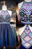 Navy Chiffon Halter Neck Beaded Sequins Crystals Cheap Homecoming Gowns with Illusion Back PM922
