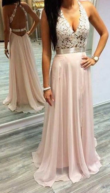 Sexy Pink Prom Dresses Halter V-Neck Lace Sleeveless Open Back Chiffon Evening Gowns PM648