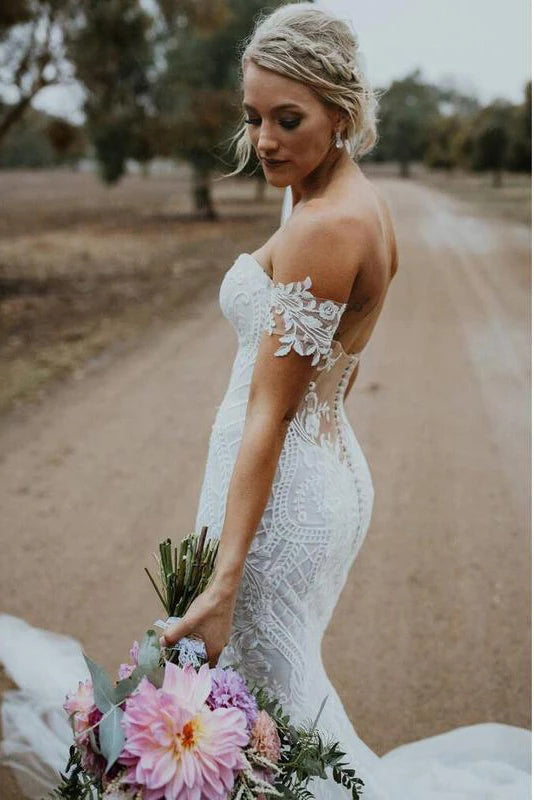 Charming Ivory V Neck Mermaid Strapless Lace Appliques Wedding Dresses, Bridal Dresses W1216
