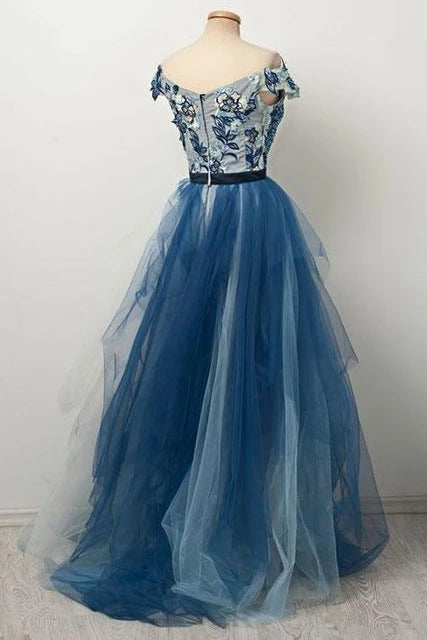 Blue Off the Shoulder Tulle V neck Cap Sleeve Beads Prom Dresses with Applique P1227