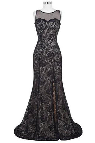 High-Split Lace Ball Gown Evening Prom Party Dress ST168