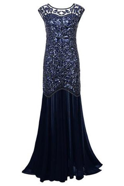 Navy Blue Sequin Gatsby Maxi Long Evening Prom Dresses uk PH203