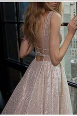 Honorable Deep V-Neck Court Train Pink Backless Prom Dresses uk with Sequins PM748