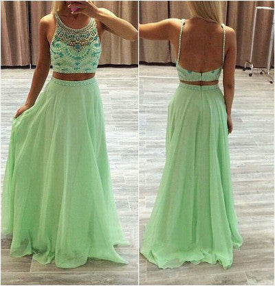2 pieces prom dresses, Green prom dresses, chiffon prom dress, rhinestone prom dresses, 16039