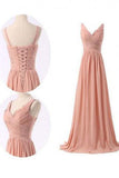 Simple V-neck Ruffles Long Chiffon Bridesmaid Dresses PM466