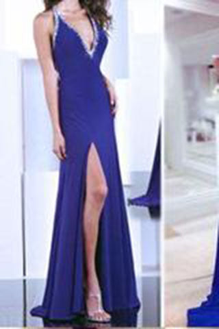 Gorgeous Blue Sexy Deep V-Neck with Slit Prom Dresses,Backless Prom Dresses uk PH125