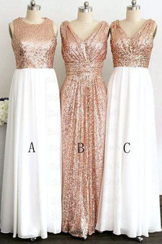 Gold Sequin Off-the-Shoulder Short A-Line White Cheap Modest Bridesmaid Dresses PH49
