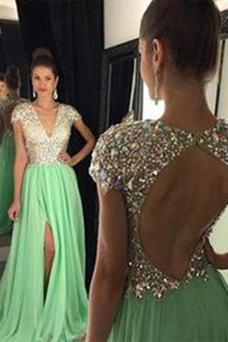 Green Beads Green prom dresses,Open back prom dresses,Sexy prom dresses,prom dress online,16120