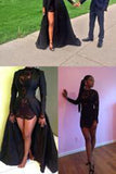 2018 New Style Vintage Long Sleeve Sexy Black A-Line Lace High Neck Prom Dresses uk PM984