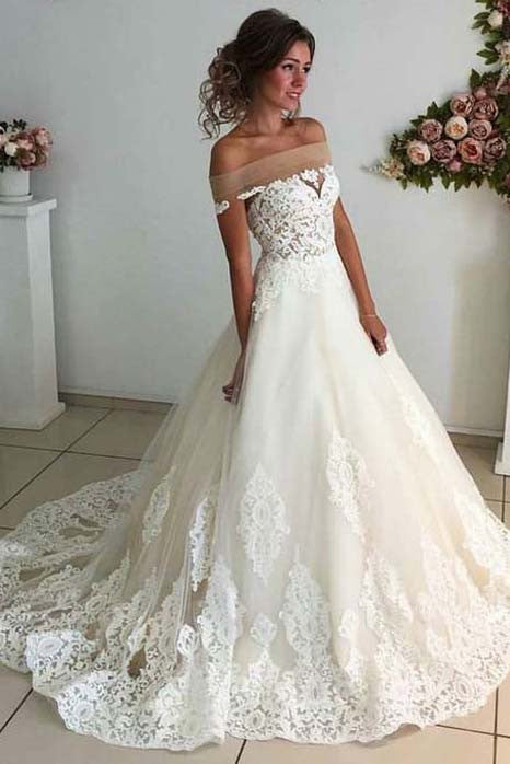 Affordable Lace Unique Off the Shoulder Online Charming Long Tulle Wedding Dress PW279