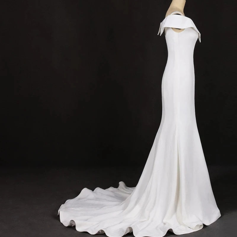 Mermaid V Neck Ivory Simple Wedding Dress, Satin Unique Long Wedding Gowns W1141