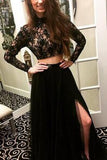 Long Sleeves Modest Black Two Pieces Beaded Lace Long Women Dresses,Prom Dresses uk PM678