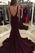 Elegant Scoop Sweep Train Burgundy Backless Mermaid Sleeveless Floor-Length Prom Dresses uk PH47