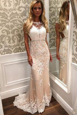 Charming Lace Mermaid Long Sexy Sleeveless Beading See Through Prom Dresses uk PM149
