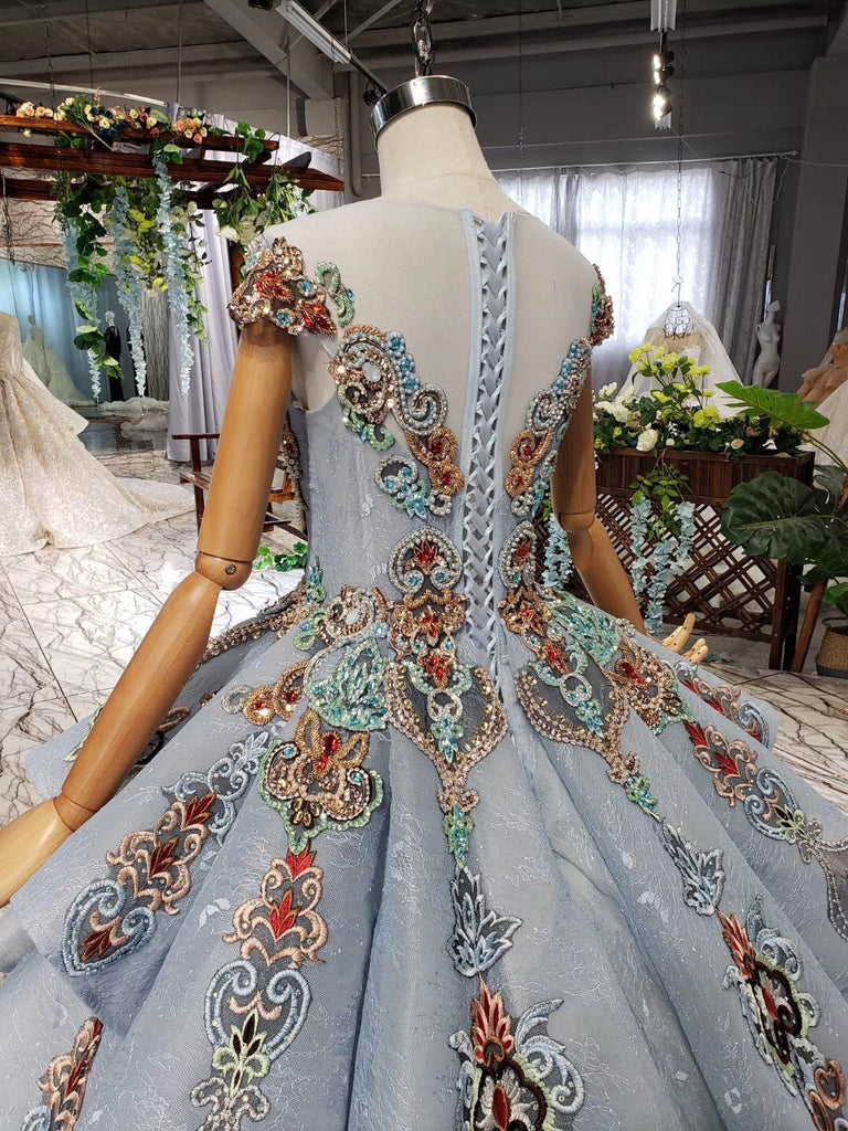 Ball Gown Blue Cap Sleeve Long Prom Dresses, Lace up Beads Quinceanera Dresses P1088