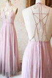 Sexy Pink V-Neck Long Chiffon Tulle Backless Sleeveless Floor-Length Prom Dresses uk PM758