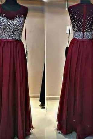 Long Custom Burgundy Beaded Charming Sparkly Floor-Length 2017 Prom Dresses uk PD01