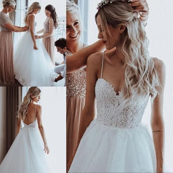 Elegant Tulle Spaghetti Straps V Neck Beaded Appliqued A-line Wedding Dresses W1154