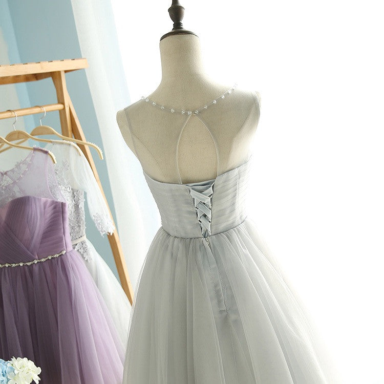 Elegant A-Line Round Neck Purple Tulle Short Cute Mini Homecoming Dresses PM102