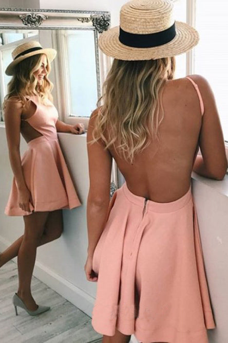 A-Line Bateau Backless Short Pink Satin Backless Homecoming Short Cocktail Dress H1169