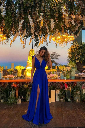 A-Line Deep V Neck Royal Blue High Split Long Prom Dresses, Cheap Evening Dresses PW347