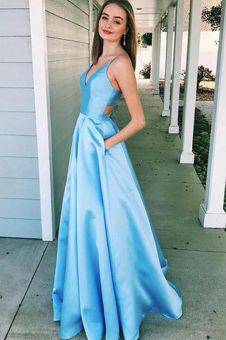 A-Line V Neck Light Blue Satin Cut Out Prom Dresses with Pockets Sleeveless PW519