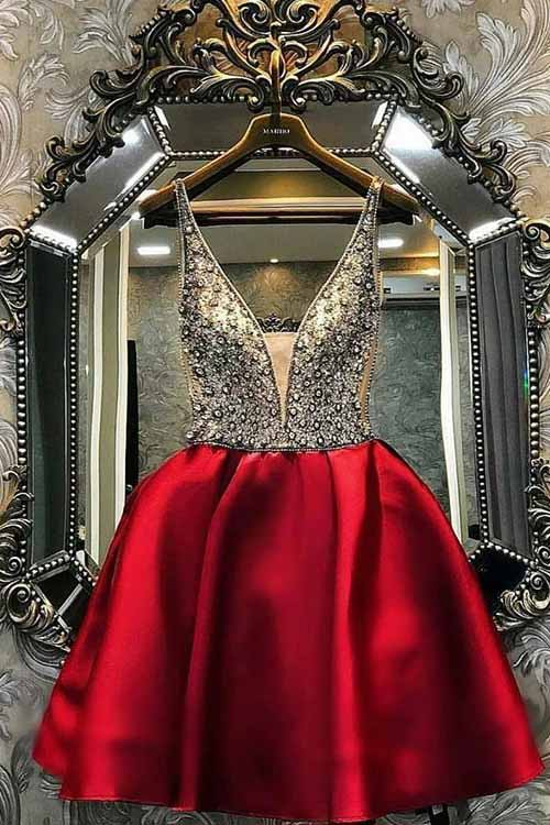 A-line Burgundy Satin Homecoming Dress Short V Neck with Beading Prom Dresses H1202