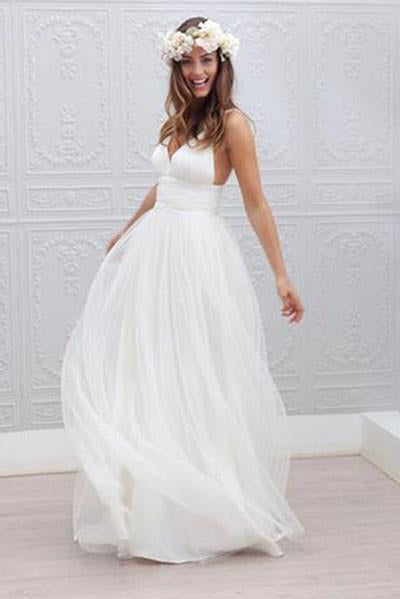 top-rated genuine in stock newest style of A-line Simple Spaghetti Straps Beach Wedding Dress,Summer Coast Off White  Bridal Gown W1014