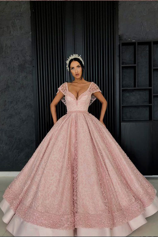 0511d180923 Chic Ball Gown Straps Pink Cap Sleeve Sparkly V Neck Beads Quinceanera Dress  with Pockets on sale – PromDress.me.uk