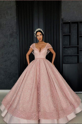 Chic Ball Gown Straps Pink Cap Sleeve Sparkly V Neck Beads Quinceanera Dress with Pockets PW228