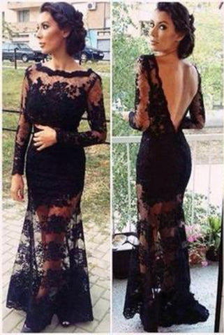 Mermaid Full Sleeve Sexy Black Lace Long Scoop Neck Floor Length Prom Dresses uk PM143