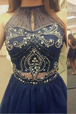 High Neck Halter Navy Blue Tulle Skirt Sleeveless Two Piece Short Prom Homecoming Dress PH74