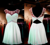 Mint Homecoming Dress A-line Empire Open Back Chiffon with Beaded Short Prom Dress PM902