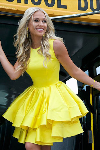 Cute A Line Round Neck Yellow Open Back Satin Short Homecoming Dresses uk with Pockets PH949